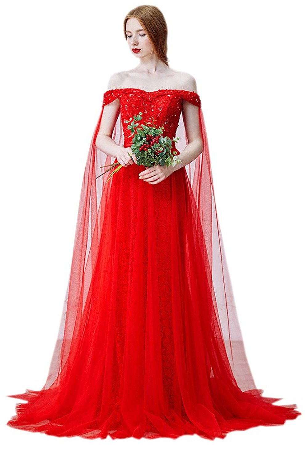 off shoulder floor length red wedding dress