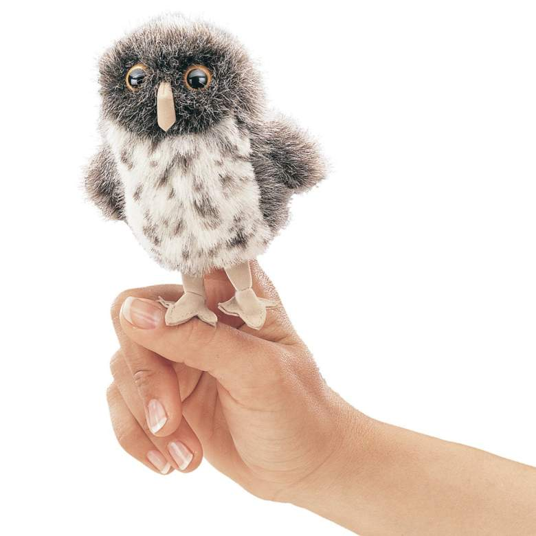 Folkmanis Mini Spotted Owl Finger Puppet , baby gift, christmas, birthday, best stocking stuffer