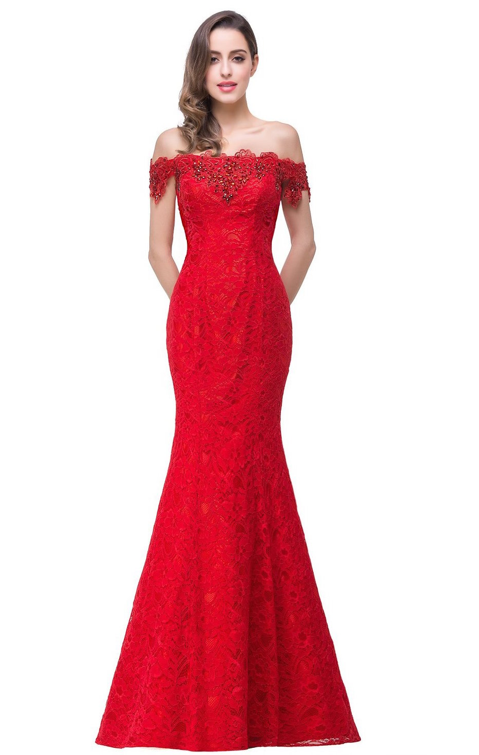 off shoulder red lace wedding gown