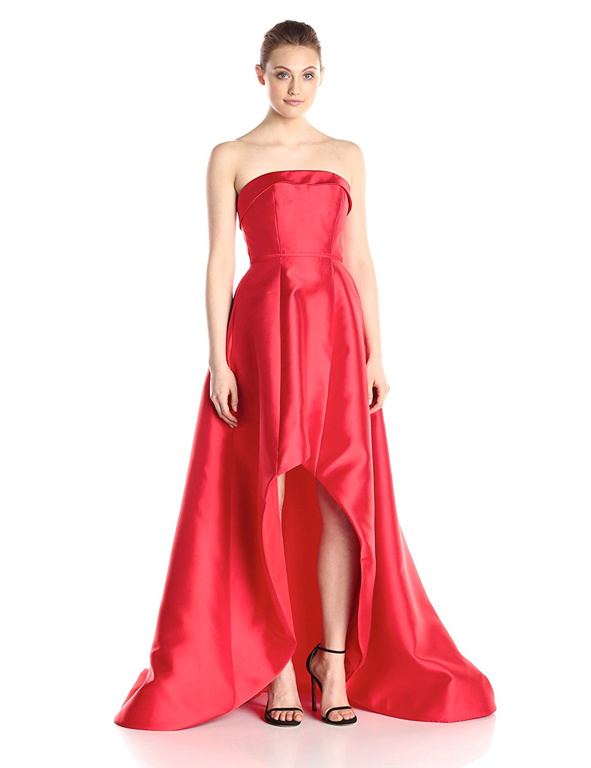 high low red satin gown