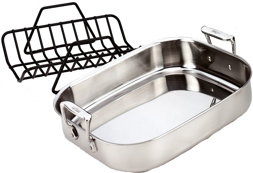 all-clad-51114-stainless-steel-petite-roti-pan-with-nonstick-v-shaped-roasting-rack