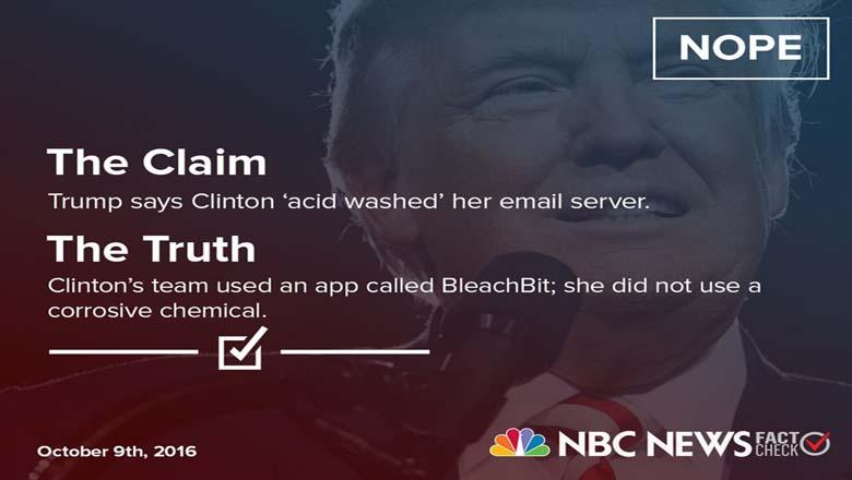 nbc news fact check trump clinton, clinton acid wash emails, clinton bleachbit