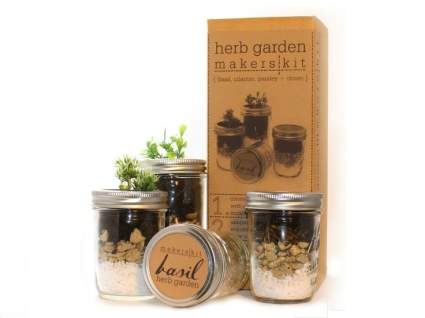 Makerskit Mason Herb Garden Gift Set, Basil/Cilantro/Mint/Parsley , best stocking stuffer