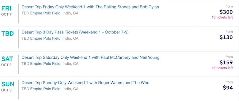 Desert Trip festival, Oldchella, Desert Trip parking, Desert Trip tickets, Paul McCartney tour, Rolling Stones concert, Bob Dylan on tour