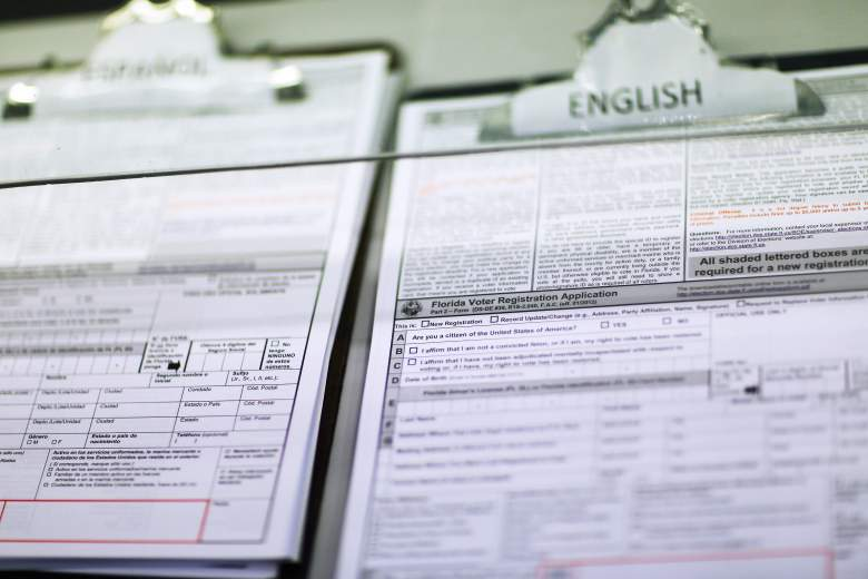 A Florida Voter Registration Application sits at the Miami-Dade Elections Department on October 1, 2012 in Miami, Florida. (Getty)