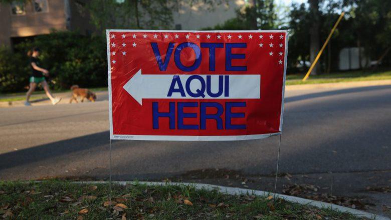 Texas Voting sign, Texas Voting booth, Texas polls