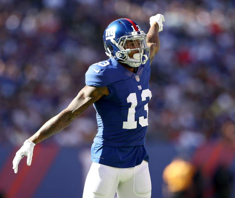 EAST RUTHERFORD, NJ - SEPTEMBER 25:   Odell Beckham Jr. #13 of the New York Giants calls out a play in the second half against the New York Giants  at MetLife Stadium on September 25, 2016 in East Rutherford, New Jersey.The Washington Redskins defeated the New York Giants 29-27.  (Photo by Elsa/Getty Images)