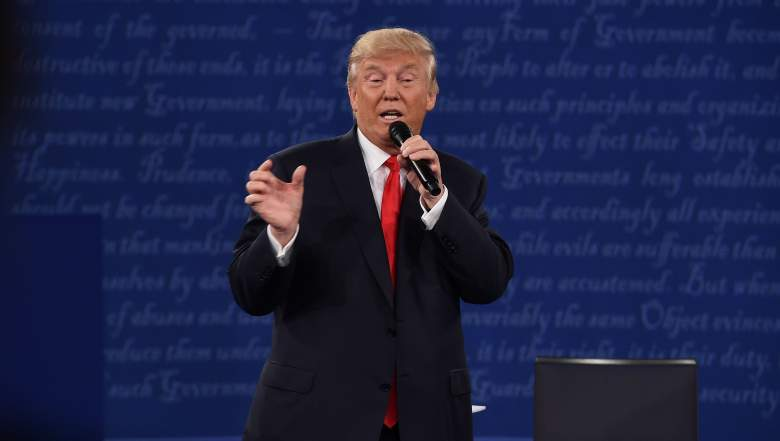 US Republican presidential candidate Donald Trump speaks during the second presidential debate at Washington University in St. Louis, Missouri, on October 9, 2016. / AFP / Robyn Beck (Photo credit should read ROBYN BECK/AFP/Getty Images)