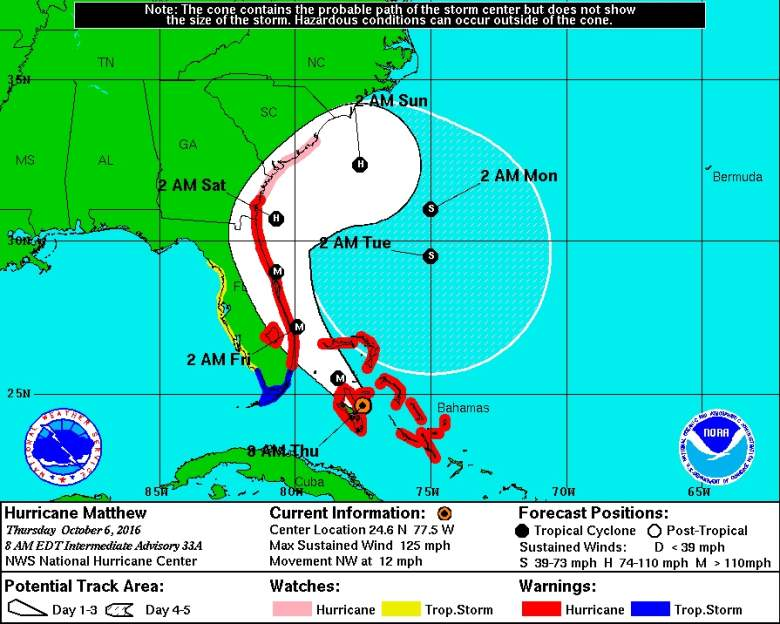 NOAA, Hurricane Matthew map, Hurricane Matthew updates, Hurricane Matthew Path