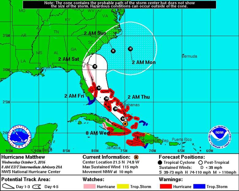 Hurricane Matthew path, Florida evacuation, Florida evacuation zones