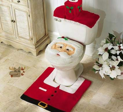 Mini-Gift Santa Toilet Seat Cover and Rug Set Christmas Party Decoration (Red) , best cheap christmas decoration