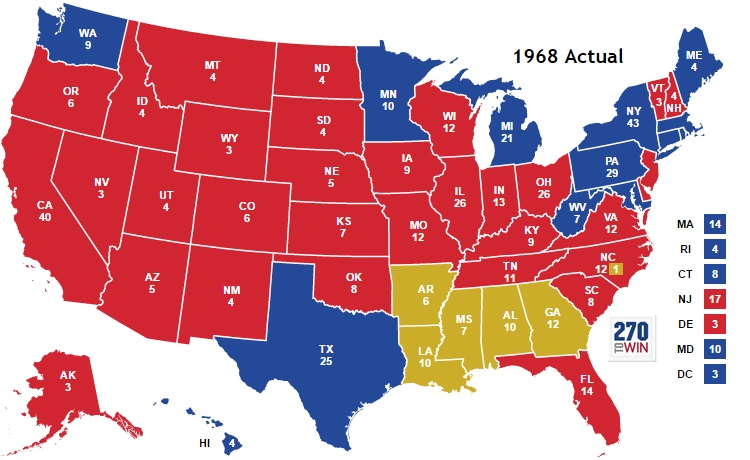 1968 Presidential election, the last time a third party candidate won, third party candidate