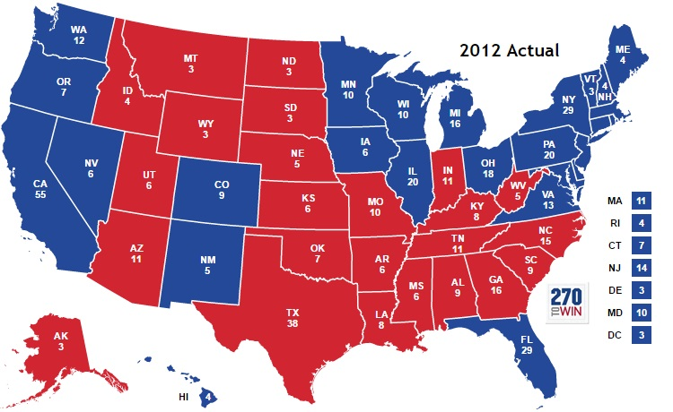 2012 Electoral college, 2012 Election results, Obama re-election