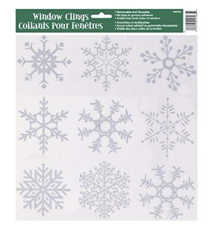 Silver Glitter Snowflake Window Cling Sheet , best cheap christmas decorations