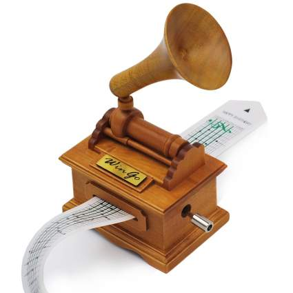 Music Box Wooden Gramophone Make Your Own Song , best creative gift, musical gift, diy