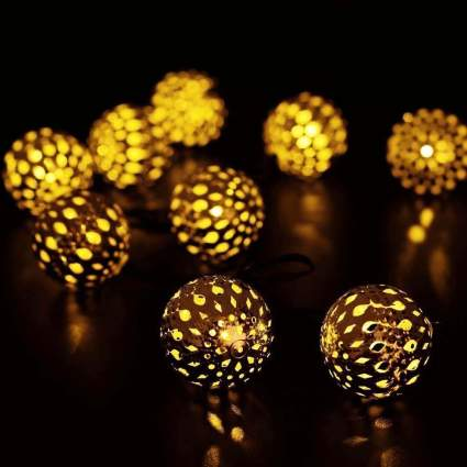 JOJOO 12 LED 12ft Moroccan Solar String Lights Metal Globe Lanterns Ornament Lights for Garden, Wedding, Party, Outdoor and Christmas, Amber LT004 , best unique christmas ornament