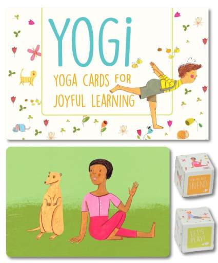 Yogi Fun Kids Yoga Cards Kit with Illustrations, Poetic Instructions and 2 DIY Dice, best creative gift, unique gift