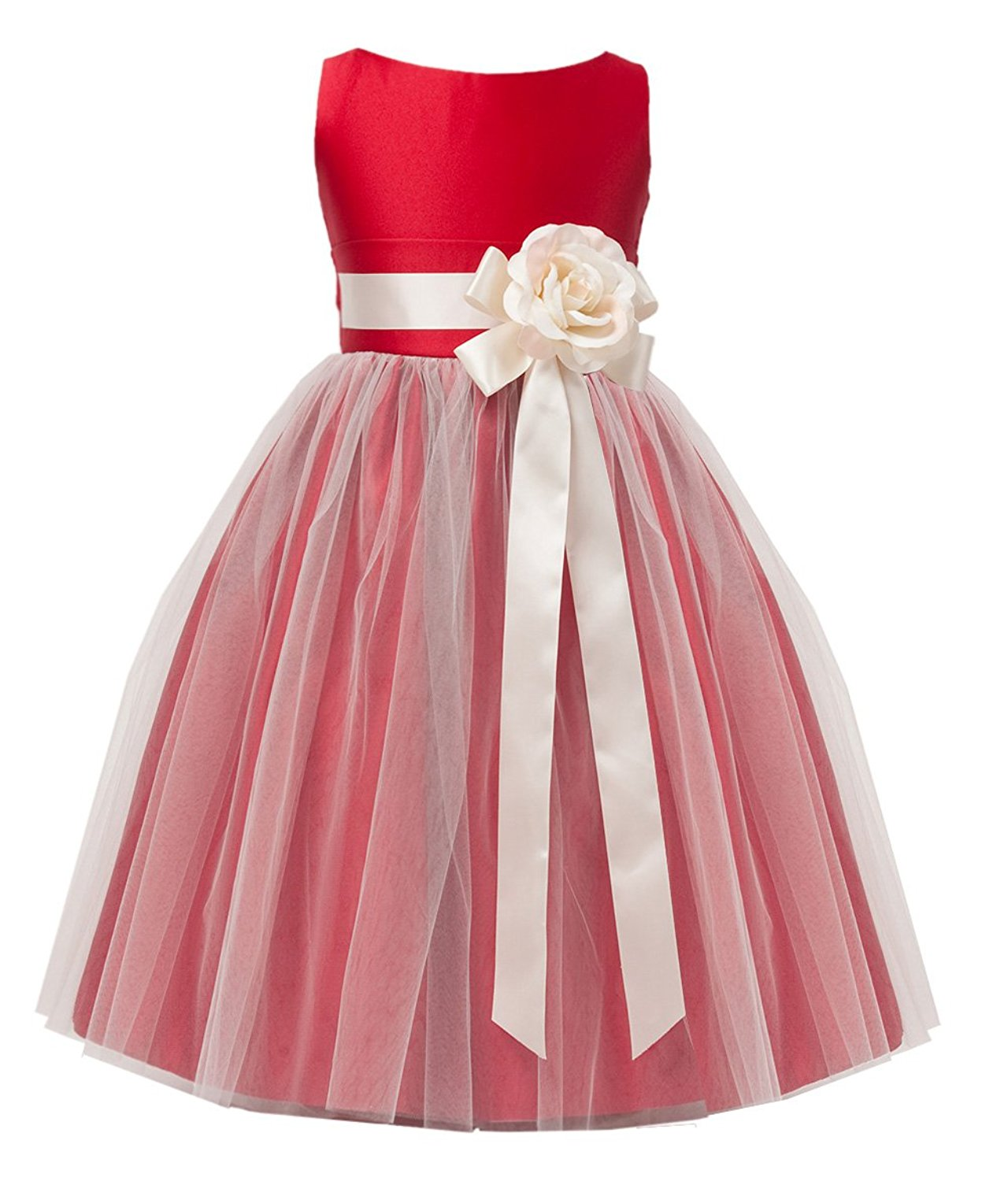 Vintage Style Satin and Tulle Flower Girl Pageant Dress