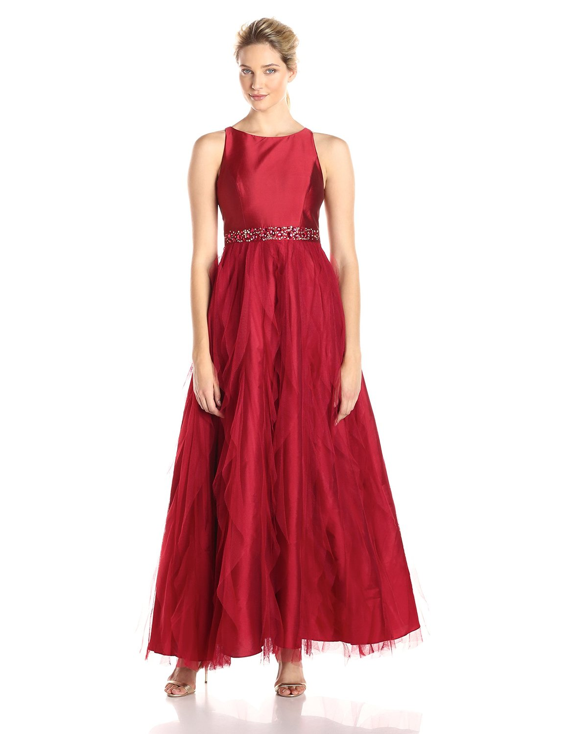 sleeveless red breaded gown