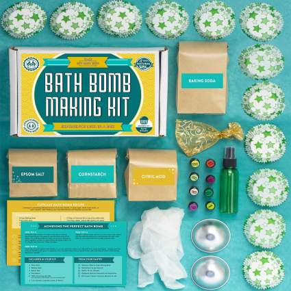Bath Bomb Making Kit with 100% Pure Therapeutic Grade Essential Oils, (Makes 12 DIY Lush Cupcake Mold Bath Bombs), Gift Box Included. , best diy gift, creative gift, bath bomb gift