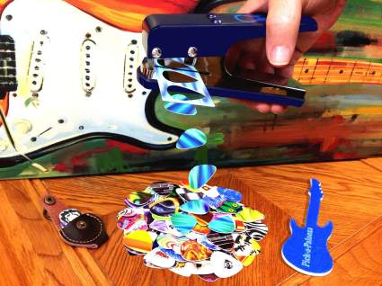Pick-a-Palooza DIY Guitar Pick Punch Mega Gift Pack - the Premium Pick Maker - Leather Key Chain Pick Holder, 15 Pick Strips and a Guitar File - Blue , creative, ciy, gift, music