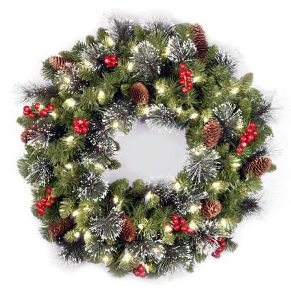 National Tree 24-Inch Crestwood Spruce Wreath with Silver Bristle/Cones/Red Berries/Glitter/50 Clear Lights - Plug In , best christmas cheap decoration