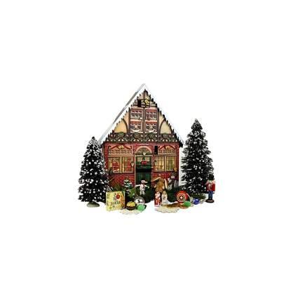 wooden christmas house advent calendar