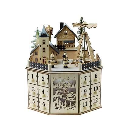 vintage wooden advent calendar with LED lights