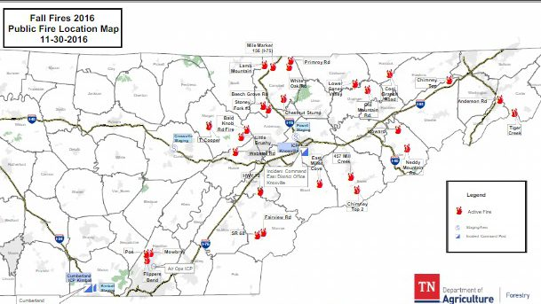tennessee forest fire map Gatlinburg Fire Map See Locations Of Tennessee Fires Heavy Com