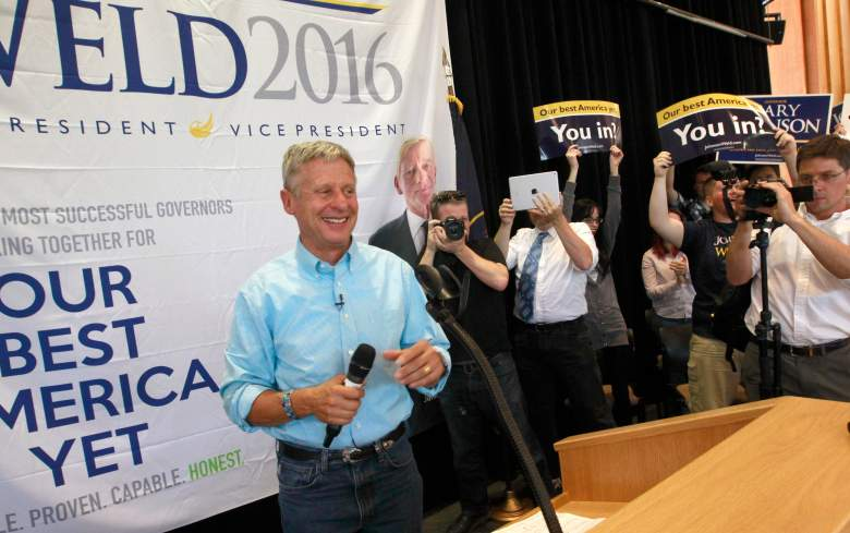 SALT LAKE CITY, UTAH - AUGUST 6: Libertarian presidential candidate Gary Johnson talks to a crowd of supporters at a rally on August 6, 2015 in Salt Lake City, Utah. Johnson has spent the day campaigning in Salt Lake City, the home town of former republican presidential candidate Mitt Romney. (Photo by George Frey/Getty Images)