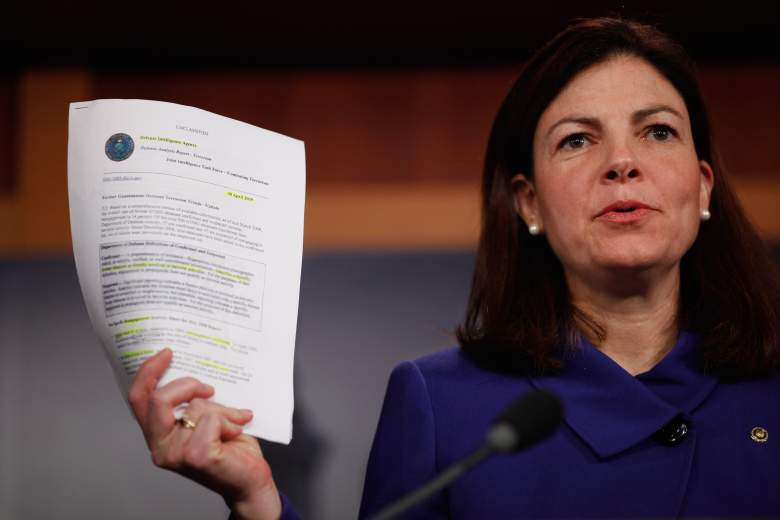 Sen. Kelly Ayotte (R-NH) holds up a Defense Intelligence Agency report about former Guantanamo detainees during a news conference with fellow senators at the U.S. Capitol March 10, 2011 in Washington, DC. (Getty)