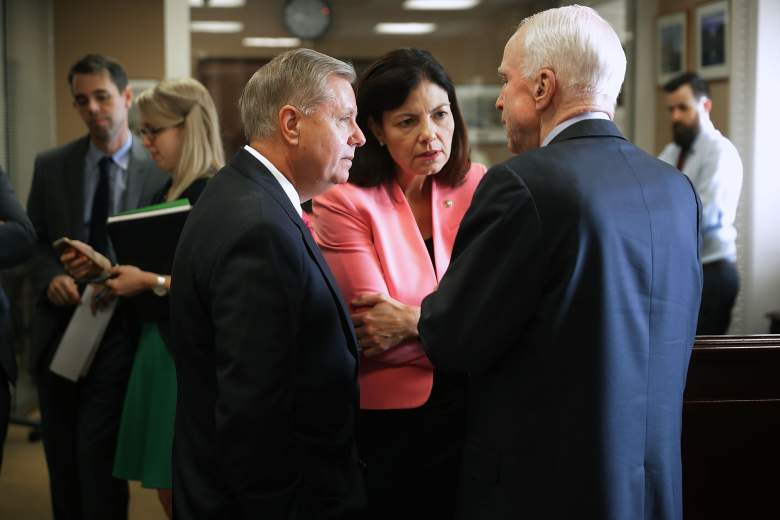 (L-R) Sen. Lindsey Graham (R-SC), Sen. Kelly Ayotte (R-NH) and Sen. John McCain (R-AZ) visit before a news conference about military assistance to Israel at the U.S. Capitol September 20, 2016 in Washington, DC. (Getty)