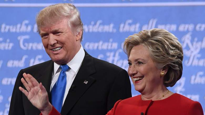 Republican nominee Donald Trump (L) and Democratic nominee Hillary Clinton arrive for the first presidential debate at Hofstra University in Hempstead, New York on September 26, 2016. / AFP / Jewel SAMAD (Photo credit should read JEWEL SAMAD/AFP/Getty Images)