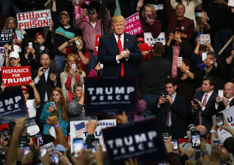 HERSHEY, PA - NOVEMBER 04: Donald Trump walks onto the stage at a rally on November 4, 2016 in Hershey, Pennsylvania. As both Hillary Clinton and Donald Trump make their final pitches to the American people, recent polls show a tightening race in crucial swing states. (Photo by Spencer Platt/Getty Images)