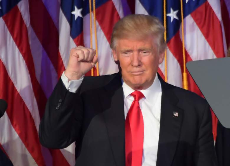 Republican presidential elect Donald Trump gestures after speaking during election night at the New York Hilton Midtown in New York on November 9, 2016. (Getty)