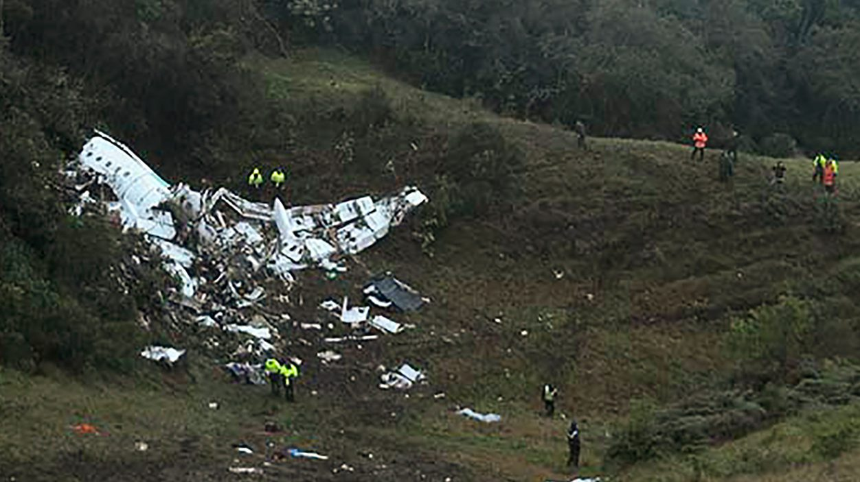 The wreckage of the LAMIA airlines charter plane carrying members of the Chapecoense Real football team that crashed is seen in the mountains of Cerro Gordo, municipality of La Union, on November 29, 2016. (Getty)