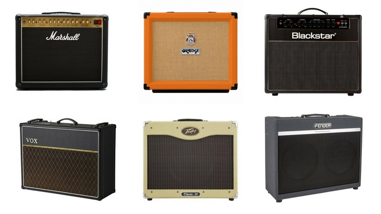 image featuring marshall dsl40, orange rocker 15, blackstar ht40, vox ac15, peavey classic 30, and fender bassbreaker combo amps, gigging amps, best gigging amp, combo amp