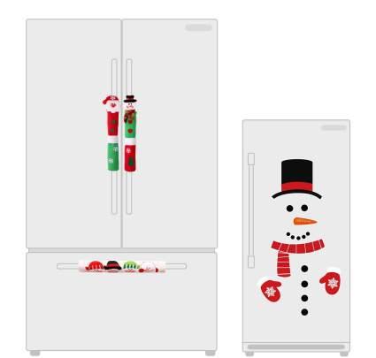 Christmas Decorations Set-Santa Claus/Snowman Handle Covers+Snowman Clings- Kitchen Appliance Decals