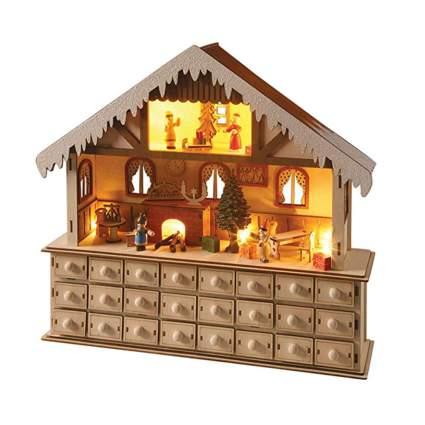 lighted santa's workshop wooden advent calendar