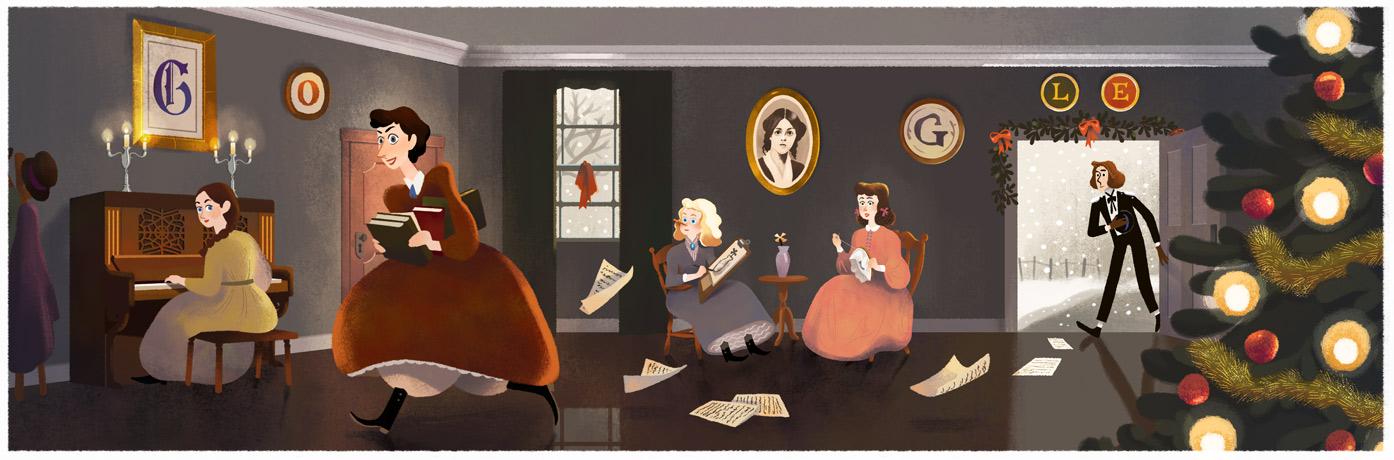 louisa may alcott, louisa may alcott google doodle