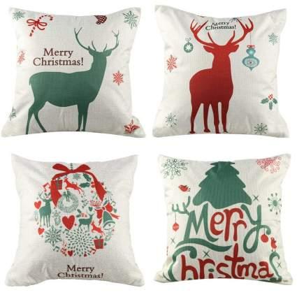 "18"" Christmas Pillow Case Set of 4"