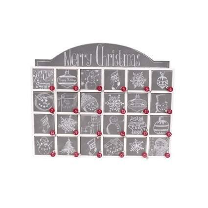 chalk art wooden Advent countdown calendar