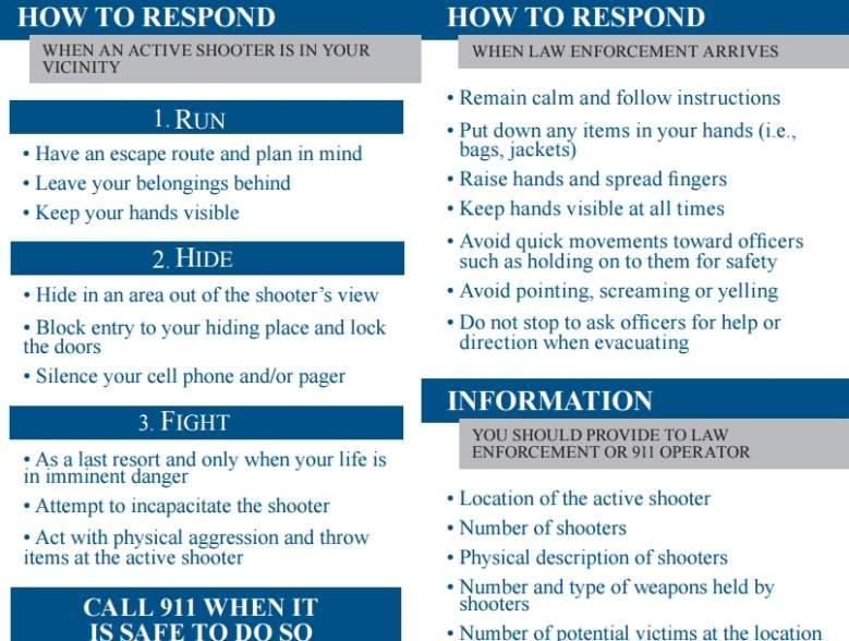 Run Hide Fight, OSU shooting, Run Hide Fight meaning