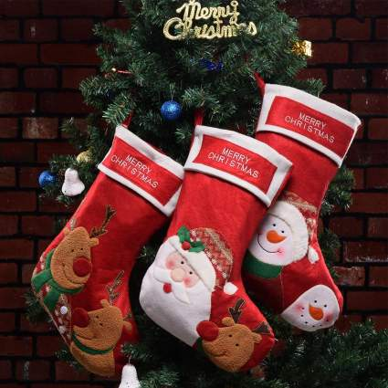 Set of 3 Embroidered Christmas Stocking