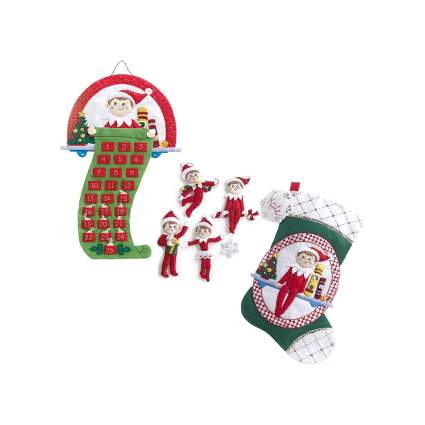 The elf on the shelf ornament stocking and advent calendar kit