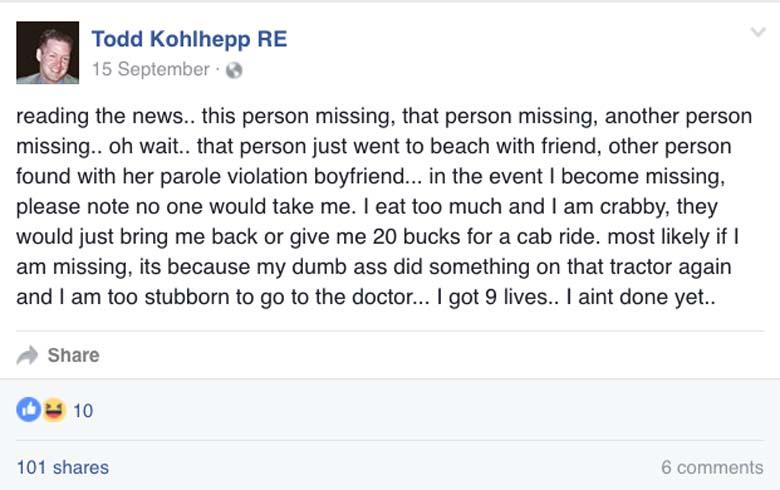 Todd Kohlhepp Facebook posts