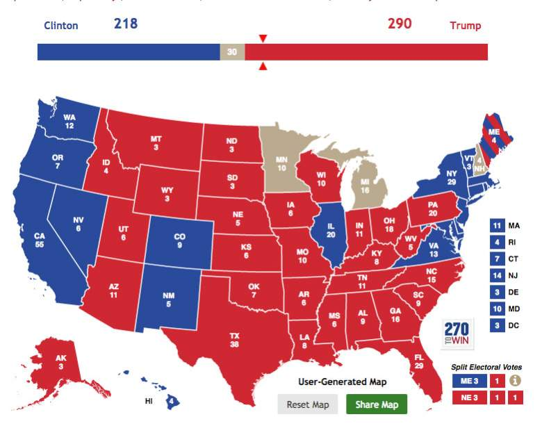 Electoral college map, Electoral college results, election results