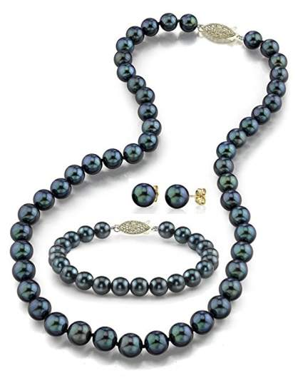 14k-gold-black-akoya-cultured-pearl-necklace-bracelet-earrings-set