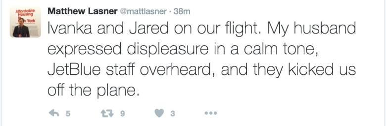 Daniel Goldstein tweets, Ivanka Trump JetBlue, Matthew Lasner