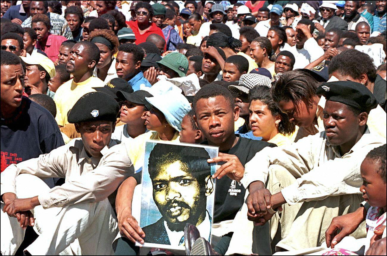 Biko supporters gather at an unveiling of a statue in his memory. (Getty)